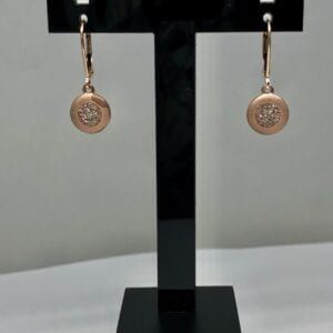 Copper and white diamond round earrings