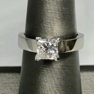 Closeup square diamond with shining band