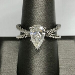 Clear Diamond Ring With X band
