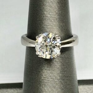 White diamond ring with thick silver band