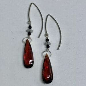 Garnet, labradorite and spinel earrings
