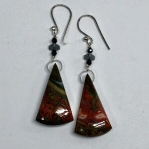 Fire agate, spinel and labradorite earrings