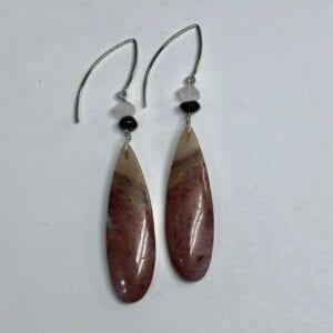 Red agate slice earrings