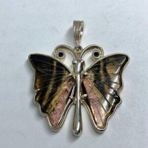 Tourmaline and black spinel butterfly pendant