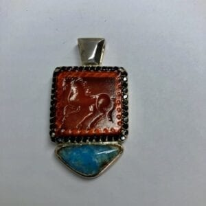 Multicolored red and blue pendant