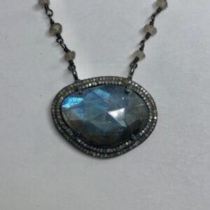 labradorite and diamond necklace