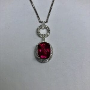 tourmaline, rubellite, necklace, diamond