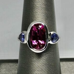 pink tourmaline, tanzanite, 18kt, white gold