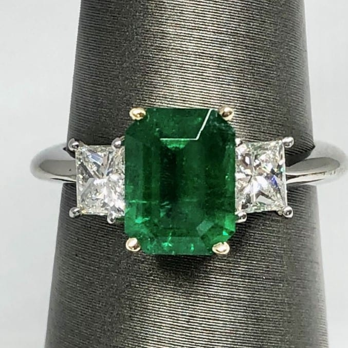 Emerald, diamond, 3 stone ring
