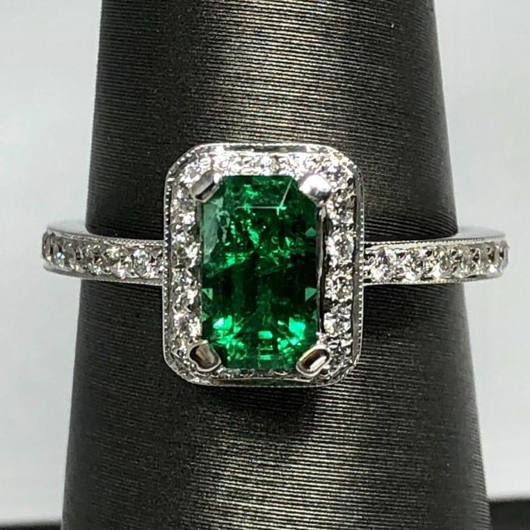 Emerald & diamond ring