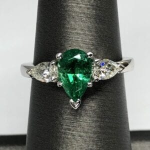 Emerald, diamond, ring, platinum