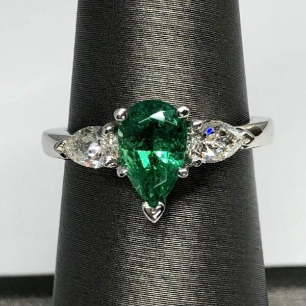 Emerald, diamond, ring, platinum