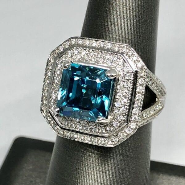 Blue blue zircon, diamond, ring