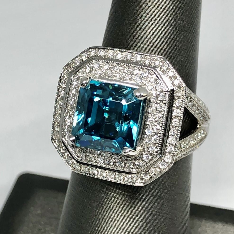 Blue blue zircon, diamond, ring