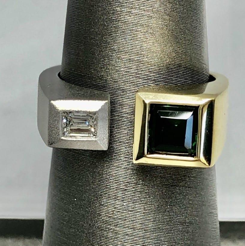 tourmaline, diamond, ring, platinum, 18kt yellow gold