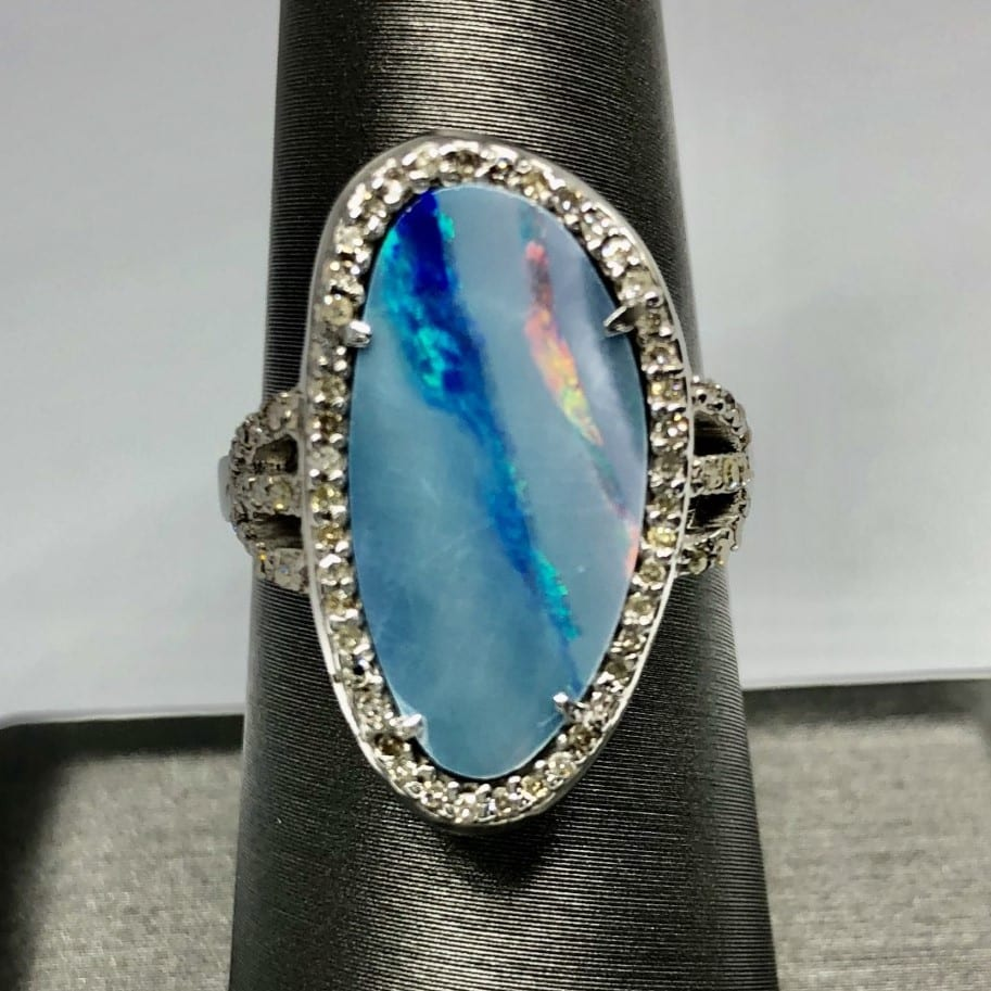 bolder opal, diamond, ring