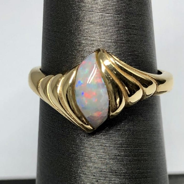 Opal, ring, free form,