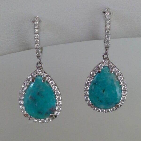 Aquamarine and rhinestone earrings
